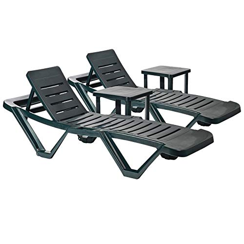 Resol 4 Piece Master Plastic Garden Sun Lounger and Side Table Set - Adjustable Reclining Outdoor Furniture - Green
