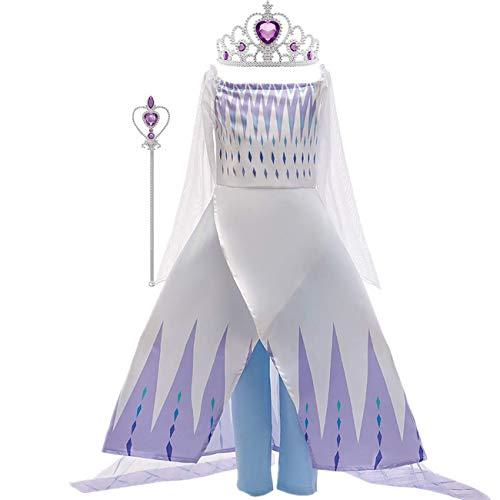 O.AMBW Elsa Disfraz niña Snow Queen 2 Princesa Falda Azul Blanco Copo de Nieve Tulle Capa Vestido de Noche de Dos Piezas Disfraces de Halloween Disfraz de rol con Corona Varita mágica