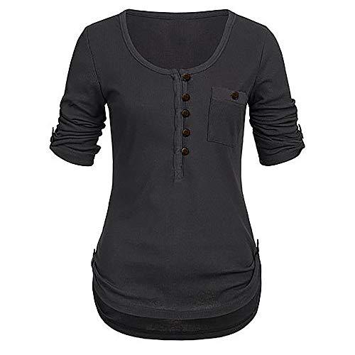 Lulupi Shirt Damen Langarm Knopfleiste Bluse Solide Rundhals Sweatshirt Casual Mode Frauen Pullover Oberteile Tunika Sommer Tops