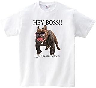 Lindwurm Tシャツ メンズ 半袖 おしゃれ HEY BOSS!! フレンチブルドック マンチ犬 マンチーズ クルーネック Uネック ユニセックス 男女兼用 プリントTシャツ