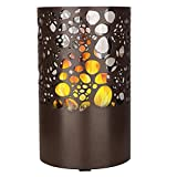 PNAYK Bio Ethanol Fuel Indoor, High Temperature Resistant Cylindrical Glass Removable Stainless Steel Base Clean Non-Burning Organisms, Ethanol Tabletop Fireplace Black,Brown