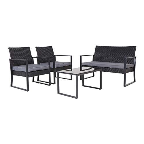 SVITA LOIS XL Poly Rattan Sitzgruppe Gartenmöbel Metall-Garnitur Bistro-Set Tisch Sessel schwarz - 3