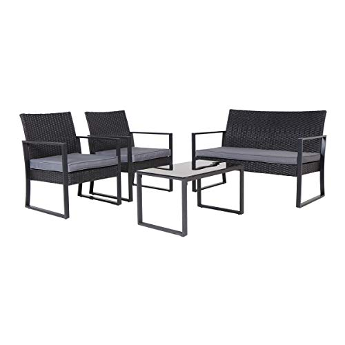 SVITA LOIS XL Poly Rattan Sitzgruppe Gartenmöbel Metall-Garnitur Bistro-Set Tisch Sessel schwarz - 4