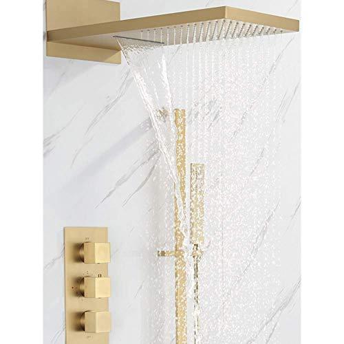 Zixin Badezimmer-Dusche-Hahn-Satz Wand befestigte Thermostat-Badewannen-Hahn-Satz-Bürsten-Gold/Gold-Messing Quadratmeter Regen Stil in-Wand
