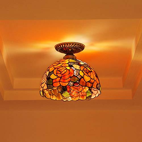 ZRSZ Plafonnier Classique en Verre De Style Tiffany Design Plafonnier Floral Rétro Petite Lampe, pour Lampe De Hall Lampe D'allée 25CM * 23CM [Classe énergétique A ++]