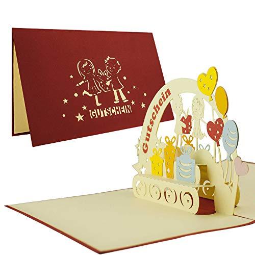 Gutscheinkarte I Geburtstagskarte I Geldgeschenk I Gutschein I Oma Opa I Pop Up Karte 3D C01
