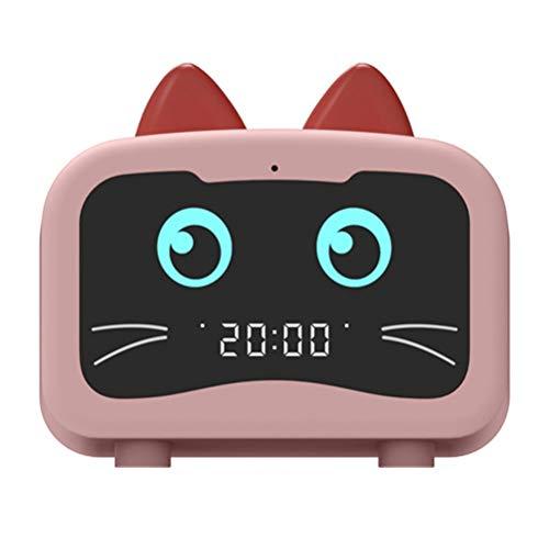 HDDFG Gato De Dibujos Animados Ordenador Portátil Subwoofer Altavoz Bluetooth Inalámbrico Inteligente Mini Reloj Despertador Decoración De Escritorio (Color : Pink)