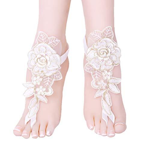 Amosfun sandalias descalzas de encaje sandalias de boda tobillera cadena pie joyería...