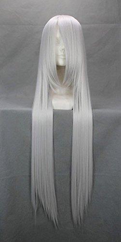 JapanAttitude Perruque Longue Grise 100cm, Cosplay HitmanReborn Superbia