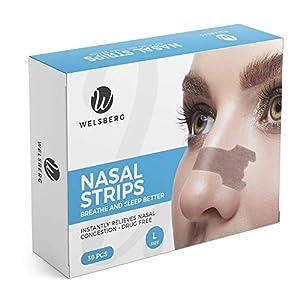 Welsberg 30x tiras nasales contra los ronquidos tiritas nasales antirronquidos, talla L