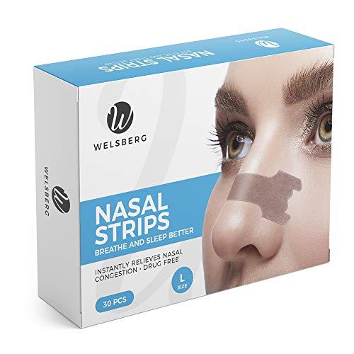 Welsberg 30x cerotti nasali per non russare cerotti per naso antirussamento per respirare meglio, taglia L