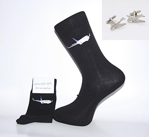 Set Socken und Manschettenknöpfe, schwarze Socken mit Flugzeug-Design und Manschettenknöpfen Tolles Geschenk für Weihnachten, Geburtstag, Vatertag, Jahrestag oder Geschenk