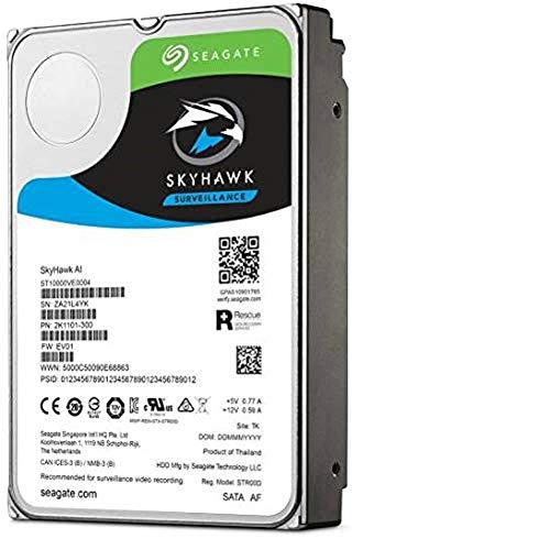 """Seagate SkyHawk AI, Unità Disco Rigido Interno da 14 TB per Video fino a 64 Telecamere, 3.5"""", 256 MB di Cache, SATA 6 GB/S, Argento (ST14000VE0008)"""