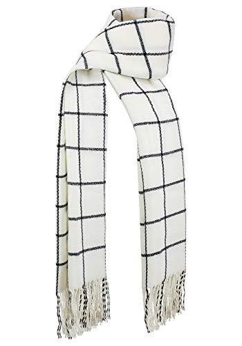 DAZCOS Plaid Scarf Winter Warm Unisex Soft Black Striped Anime Natsu Scarfs (Ivory)