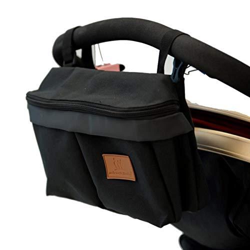 Baby Buggy Organizer, Kinderwagen Organizer Reißverschluss Universal Aufbewahrungstasche, Kinderwagentasche Wickeltasche Organizer(Pures Schwarz)