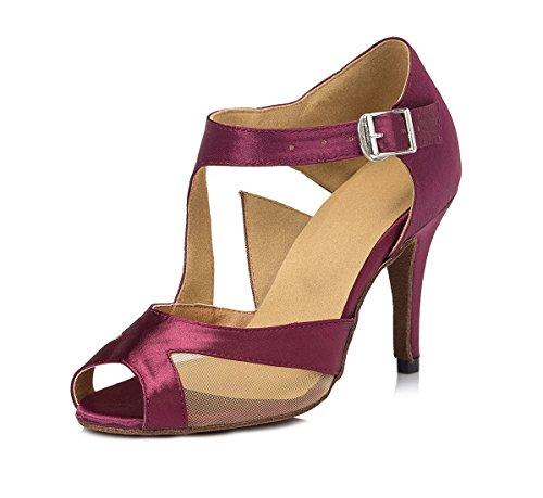 URVIP Nowości damskie satynowe buty na obcasie, do sali balowej, nowoczesne buty latynoskie z paskiem na kostkę, buty do tańca LD006, czerwony - fuksja - 38 EU