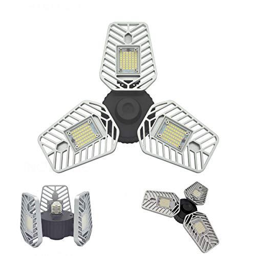LED Garage Light 60W, 5000K Day Light , 6500Lm triple glow LED Garage Lights,CRI 80 Three Leaf Garage Light Adjustable Panels,Led Shop Light (60W No Motion1 Pack)