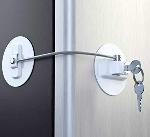 Kindersicherung Zylinder Schrank, Sicherheitsbegrenzung Schloss mit Edelstahl Schlüsselzylinder für Fenster Kühlschrank Baby Kindersicherung zum Kleben Schloss für Schränke und Schubladen (Weiß)