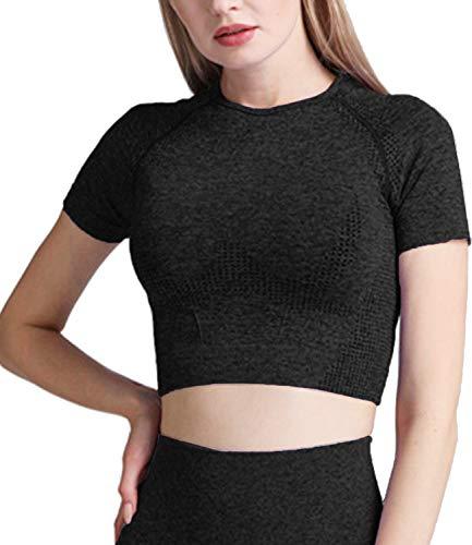 DUROFIT Abbigliamento per Allenamento da Donna Yoga Top Corto a Maniche Corte per Palestra Maglietta Sportivi Camicie a Manica Corto T-Shirt Allenamento Fitness Nero M