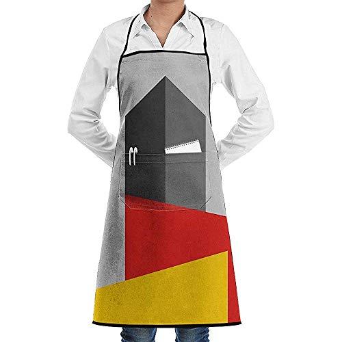Bauhaus Tower Delantal de Chef de Cocina Unisex Ajustable con Bolsillos para cocinar Hornear Elaboración Jardinería y Barbacoa