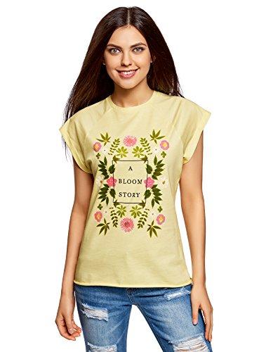 oodji Ultra Mujer Camiseta de Algodón con Estampado, Amarillo, ES 34 / XXS