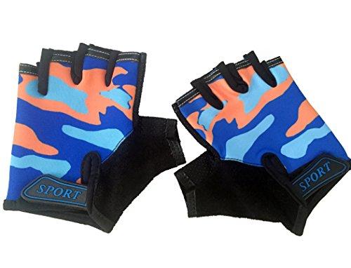 EurHouse, guanti da bici senza dita per bambini, antiscivolo, per ciclismo, corsa, ciclismo, corsa, ciclismo, bambini, 4-12 anni (arancione)