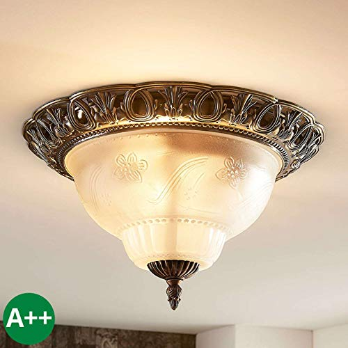 Lampenwelt Deckenlampe \'Anni\' dimmbar (Retro, Vintage, Antik) in Bronze aus Glas u.a. für Wohnzimmer & Esszimmer (2 flammig, E14, A++) - Deckenleuchte, Lampe, Wohnzimmerlampe