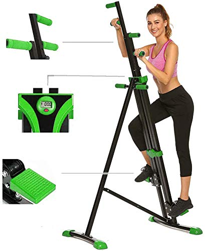 Hurbo Vertical Climber Home Gym Exercise Folding Climbing Machine Exercise Bike for Home Body Trainer Stepper Cardio Workout Training Non-Stick Grips Legs Arms Abs Calf (Green) by Hurbo