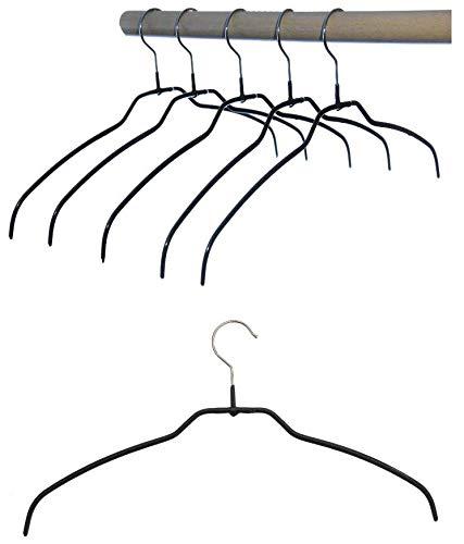 Kleiderbügel aus Metall, Drahtbügel schwarz rutschhemmend beschichtet, für Hemden oder Blusen, 4 mm, 10 Stk, sehr platzsparend