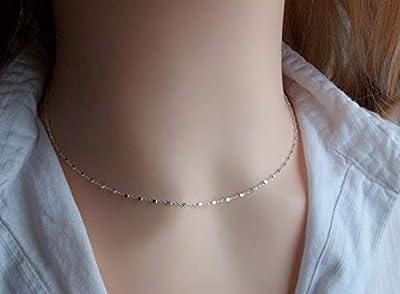 Collier ras de cou choker - Argent - Chaine petites perles carrée - Collier fin - Minimaliste - Cadeau pour femme fille