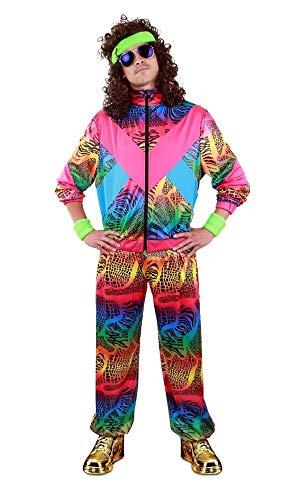 shoperama Trainingsanzug Animal Print 80er Unisex Kostüm Trash Assi Pumper Proll Bad Taste grell Neon Achtziger Jahre Retro, Größe:XL