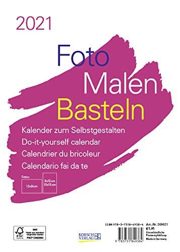 Foto-Malen-Basteln Bastelkalender A5 weiß 2021: Fotokalender zum Selbstgestalten. Aufstellbarer do-it-yourself Kalender mit festem Fotokarton.
