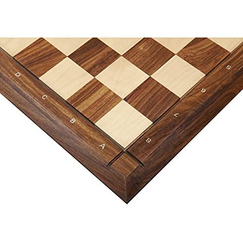 Tablero de ajedrez de madera de arce y palisandro dorado macizo, 53 cm, acabado mate, con notaciones
