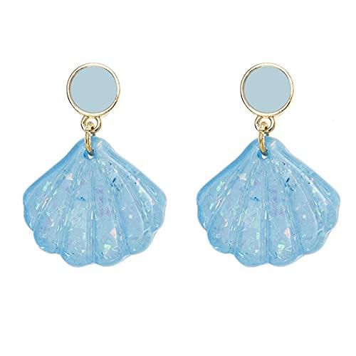 DFDLNL Earings Holiday Summer Clear Enamel Shiny Blue Color Coconut Sea Shell Pendientes de Gota