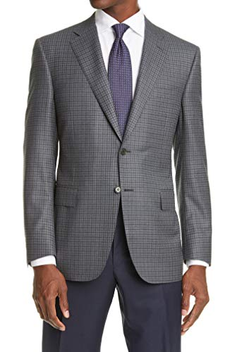 Canali Classic Fit Grey Check Wool Sport Coat 44 L (EU 54 L)
