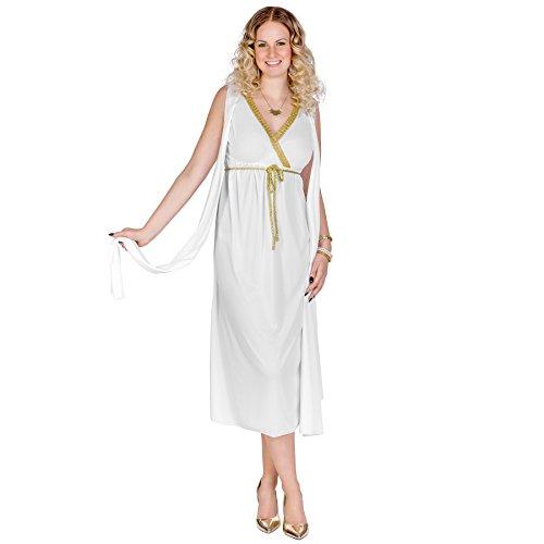 TecTake dressforfun Frauenkostüm griechische Schönheit Penelope | Langes, wunderschönes Kleid | Angenähte Schärpen an den Oberarmen | Goldener Bindegürtel (XL | Nr. 300329)