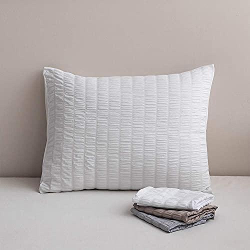 Funda de almohada rectangular de algodón blanco, 2 unidades, suave, antiarrugas y resistente a las manchas, protector de almohada de Seersucker, cierre de sobre, fundas de cojín de 50 x 75 cm