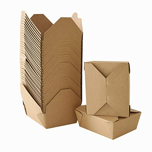 Take Out Boxes Chinese Take Out Containers 40 Pack Microwaveable Folding Natural Kraft Food Box Meal Prep Containers for Food Take Out Boxes Ideal Leak and Grease Resistant for Restaurants (Brown, 45