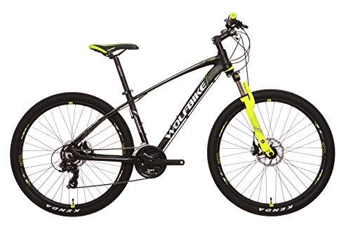 Wolfbike LINKTRO 9 27 TX300M Negro T18 Bicicleta, Adultos Unisex, Amarillo Flúor, 18-457