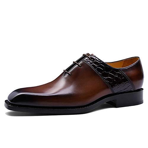 GTYW, Męskie buty biznesowe, skórzane spiczasty krawat Derby Oxford Rycerz ręcznie robione buty Oxford, modne buty do biura retro, 39-43, - Brązowy - 43 EU