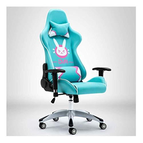 Hancoc Silla de ordenador para comprar E-Sports Home Computer DVA Pink Racing Dormitory Anchor giratorio Oficina (color azul)