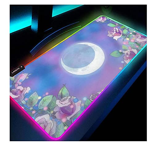 Gaming Mouse Pads Anime Sailor Moon Mouse Pad RGB Purple Pink Glowing Computer Mats Gamer Backlit Kawaii Gaming Accessories Waterproof LED Desk Mat Mousepad Cute 35.4X15.7Inch