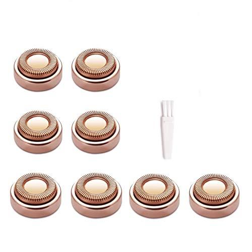Lot de 8 têtes de rechange pour rasoir électrique - Pour finition tactile - Rose dorée, avec brosse de nettoyage