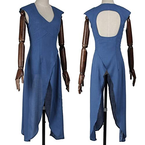 MAXIAOTONG Game of Thrones Cosplay Costume Adult Women Outfit A Song of Ice Fire Daenerys Targaryen Blue Dress (Color : Dress only, Size : Large)