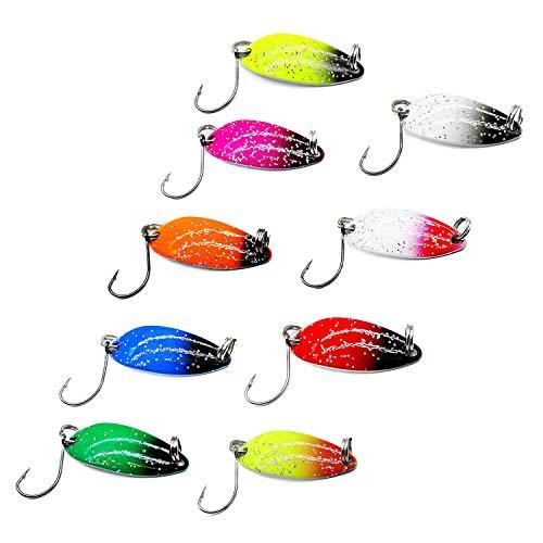 LiGG LiGG Esche Cucchiaino Colorato Cucchiani da Trota Cucchiaini da Pesca con Gancio Singolo Cucchiaino da Pesca Esche per Trota Esche per Pesca 3,3cm 3g 9 Pezzi