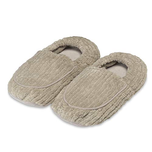 Intelex Warmies Microwavable French Lavender Scented Spa Therapy Slippers, Warm Gray, 10