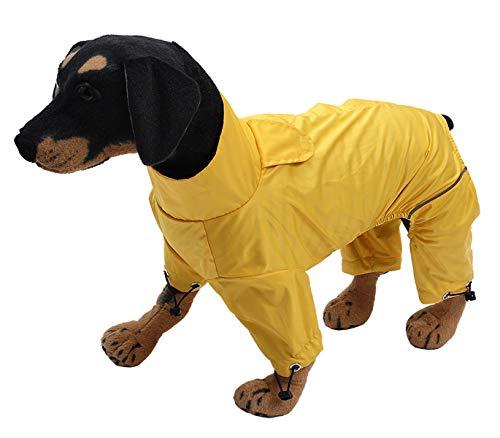 Geyecete hond Zip Up hond regenjas, regen/waterbestendig, hond regenjas lichtgewicht huisdier waterdichte jas voor grote middelgrote en kleine honden puppy vier benen Poncho, L, Geel