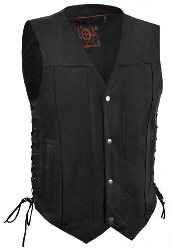 True Element Mens Single Panel Back Leather Motorcycle Vest with Concealed Carry Gun Pocket (Black, Size L)