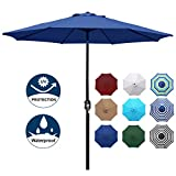 Blissun 9' Outdoor Aluminum Patio Umbrella, Striped Patio Umbrella, Market Striped Umbrella with Push Button...