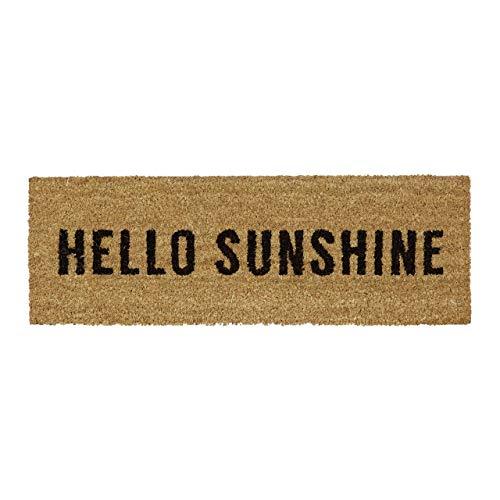 Relaxdays Felpudo Estrecho Hello Sunshine de Goma, PVC y Coco, Adecuado para balcón, terraza, Pasillo, como Felpudo para Interior y Exterior, de producción sostenible, 1,5 x 75 x 25 cm, Natural